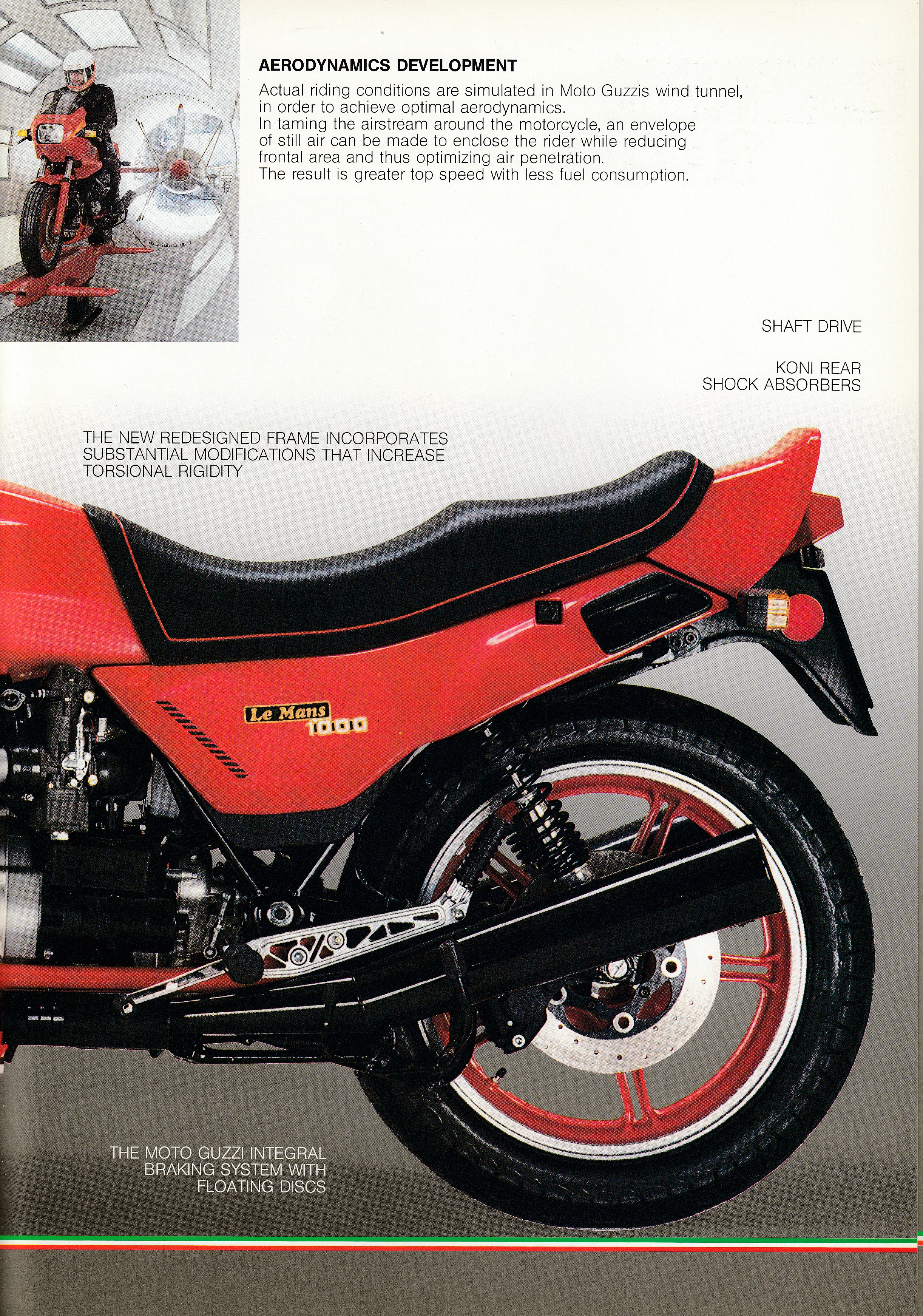 Brochure - Moto Guzzi Le Mans 1000 (red centerfold, wind tunnel on cover) [English]
