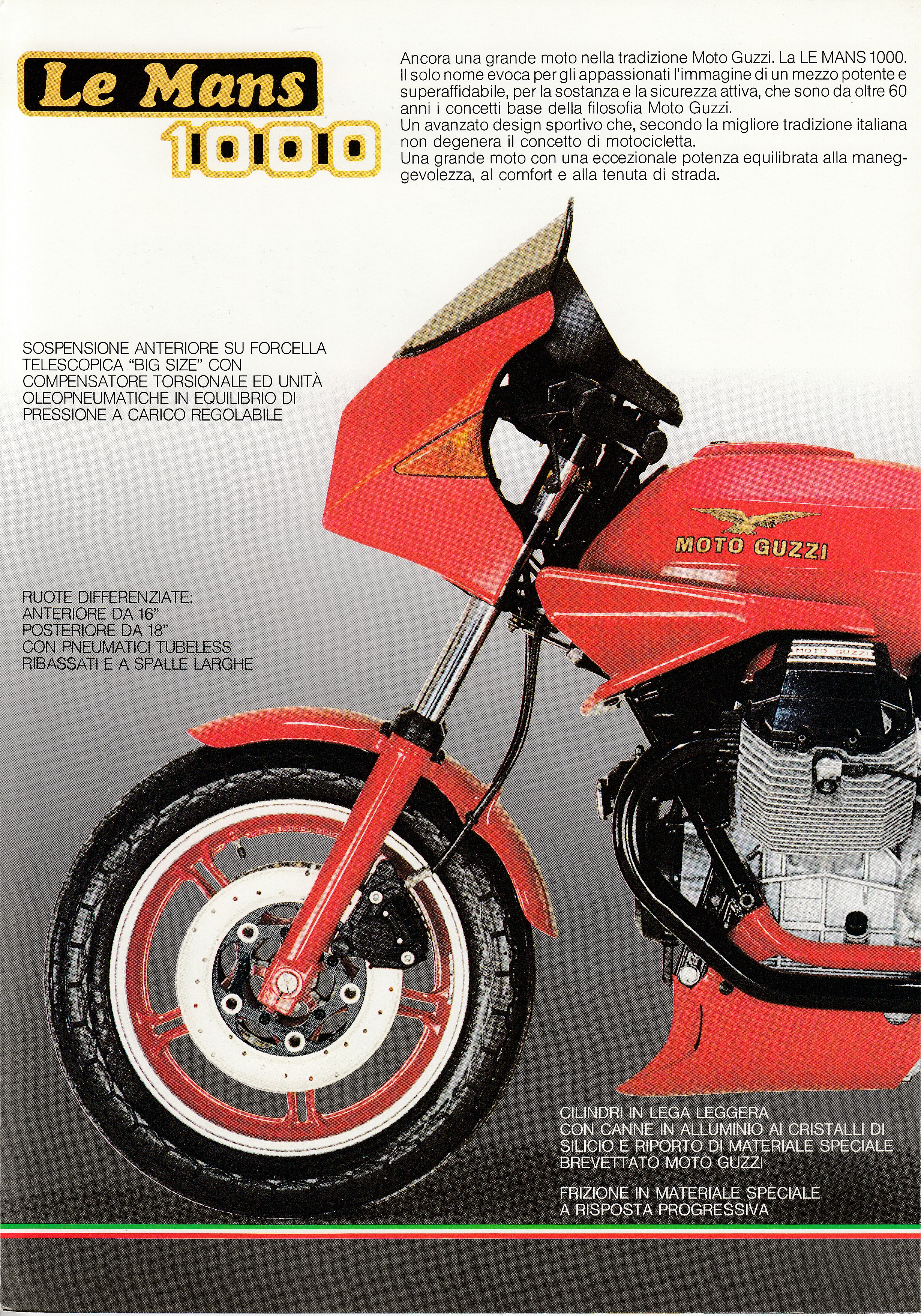 Brochure - Moto Guzzi Le Mans 1000 (red centerfold, wind tunnel on cover) [Italian]