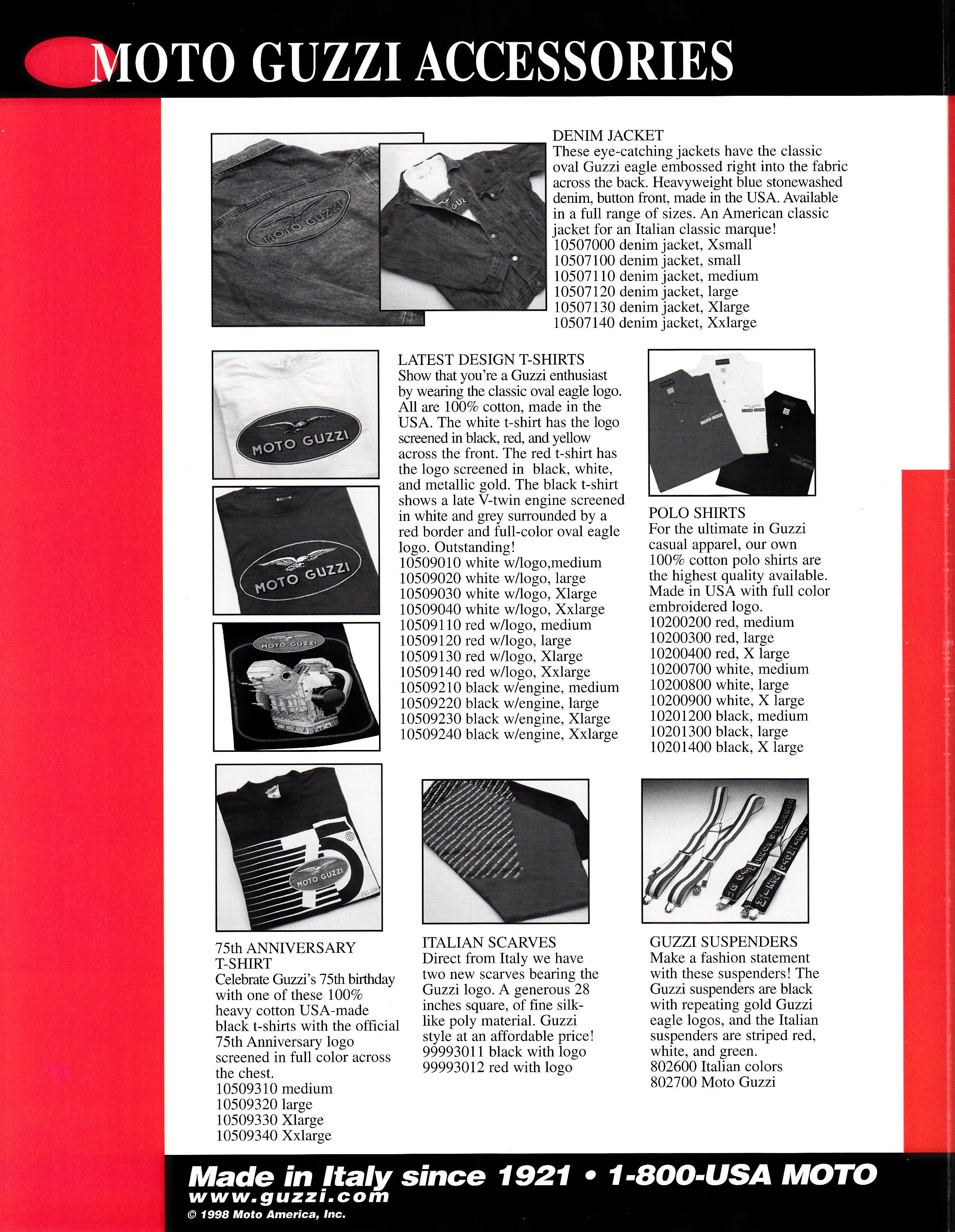brochure - moto guzzi accessories  1998  - more moto guzzi topics - moto guzzi