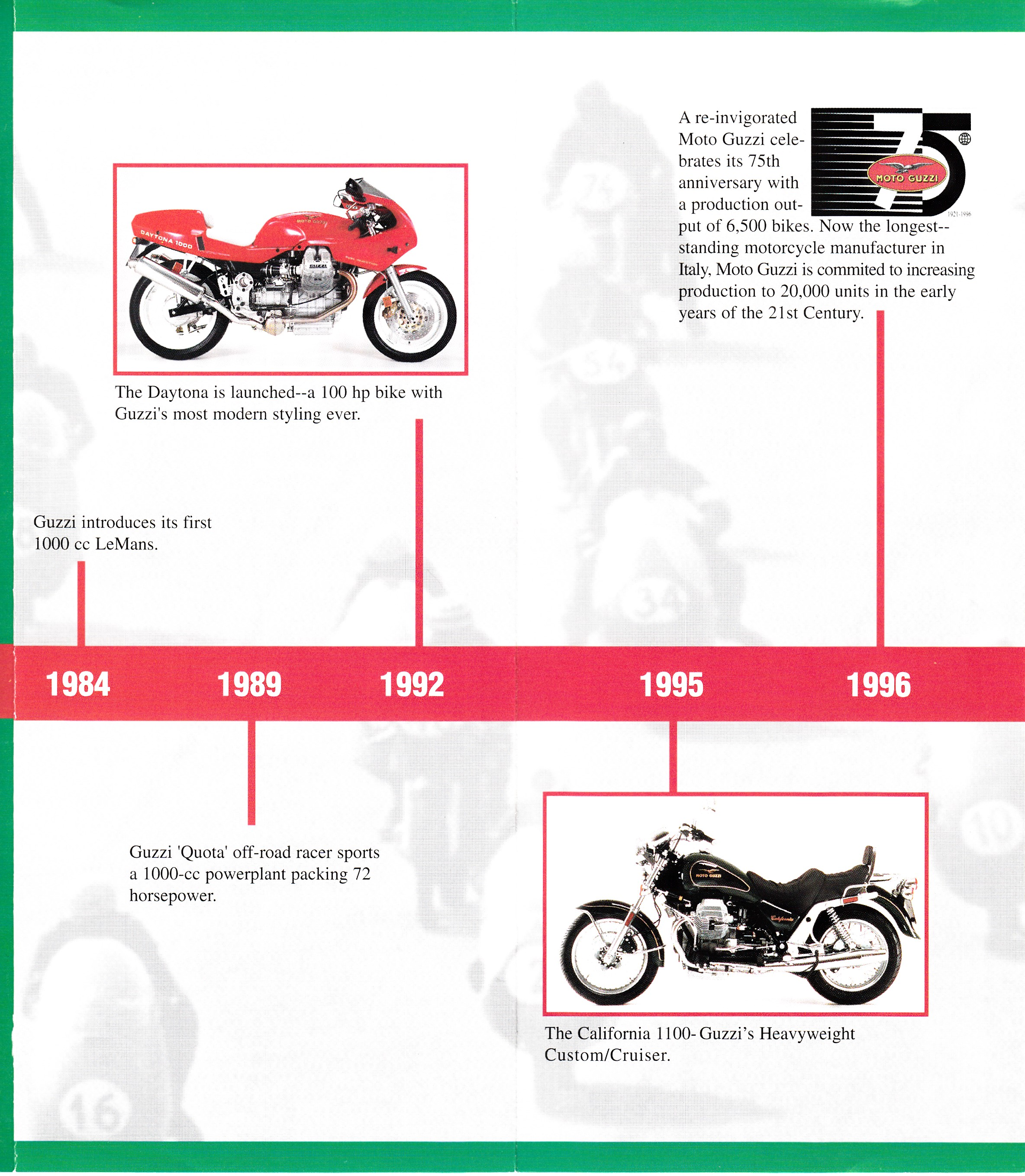 Brochure - Moto Guzzi The history of Moto Guzzi: Seven decades of Moto Guzzi excellence
