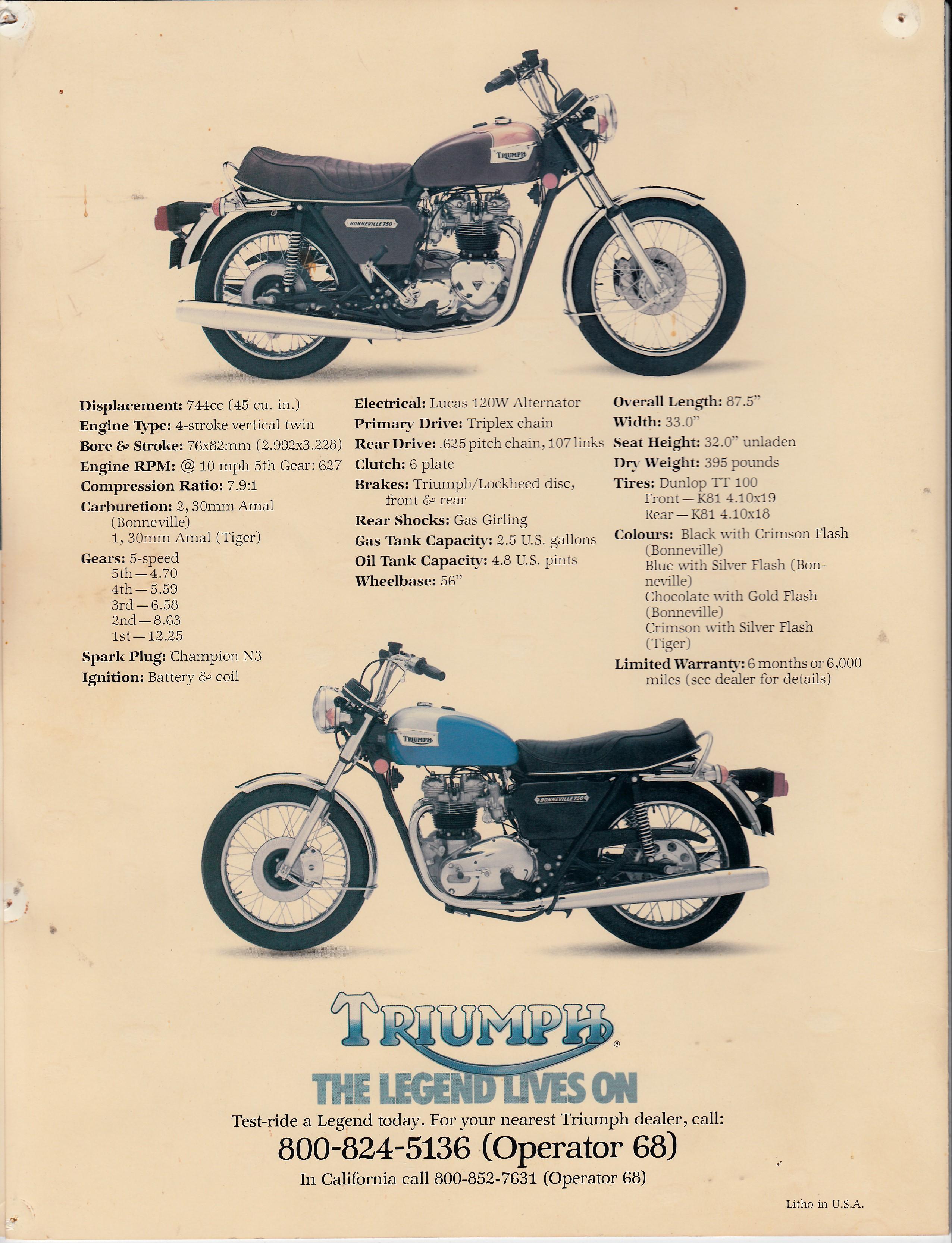 brochure - triumph bonneville 1978 - more moto guzzi topics - moto guzzi - topics
