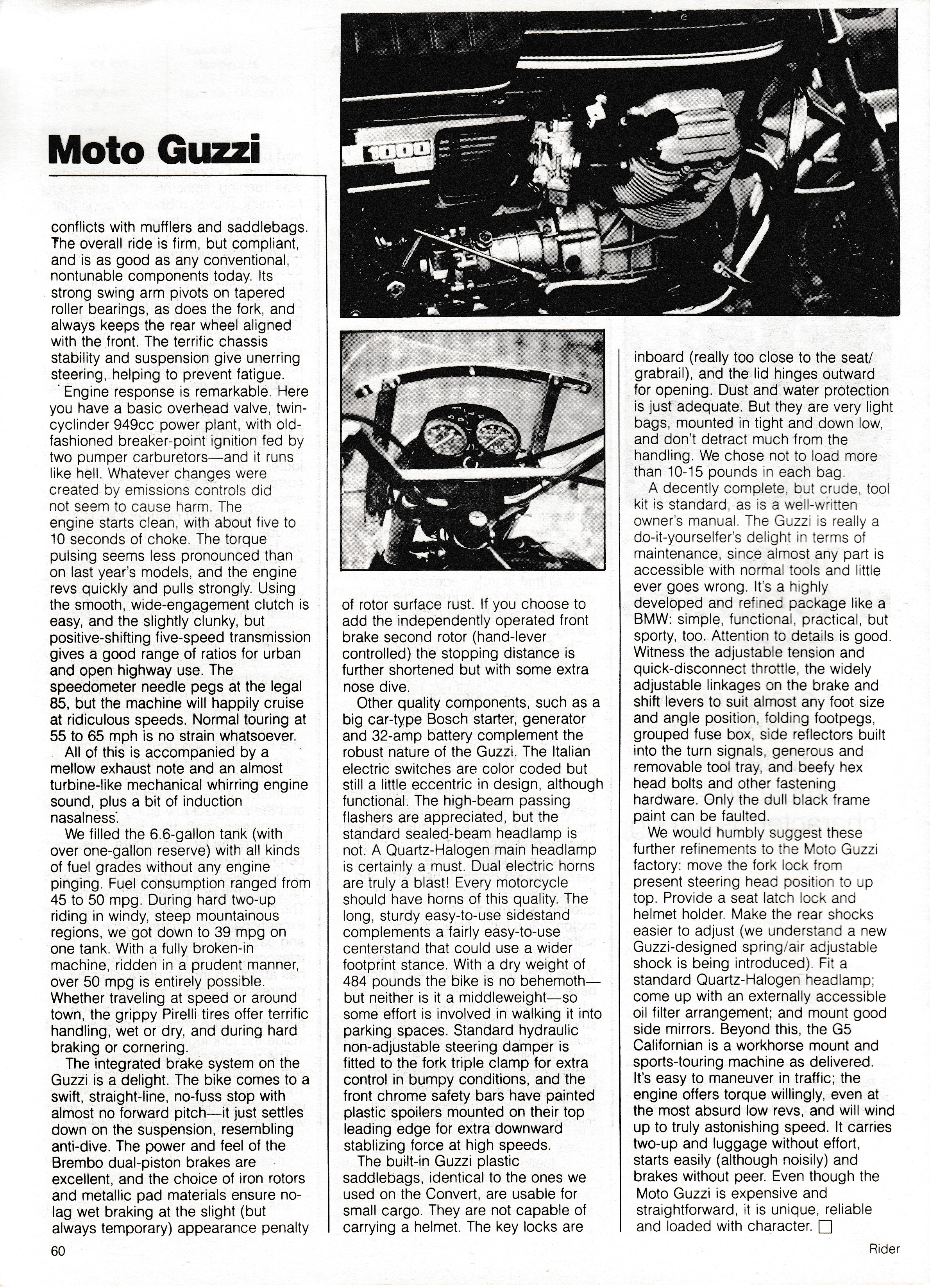 Article - Rider (1982 January) Tour-testing Moto Guzzi G5 Californian