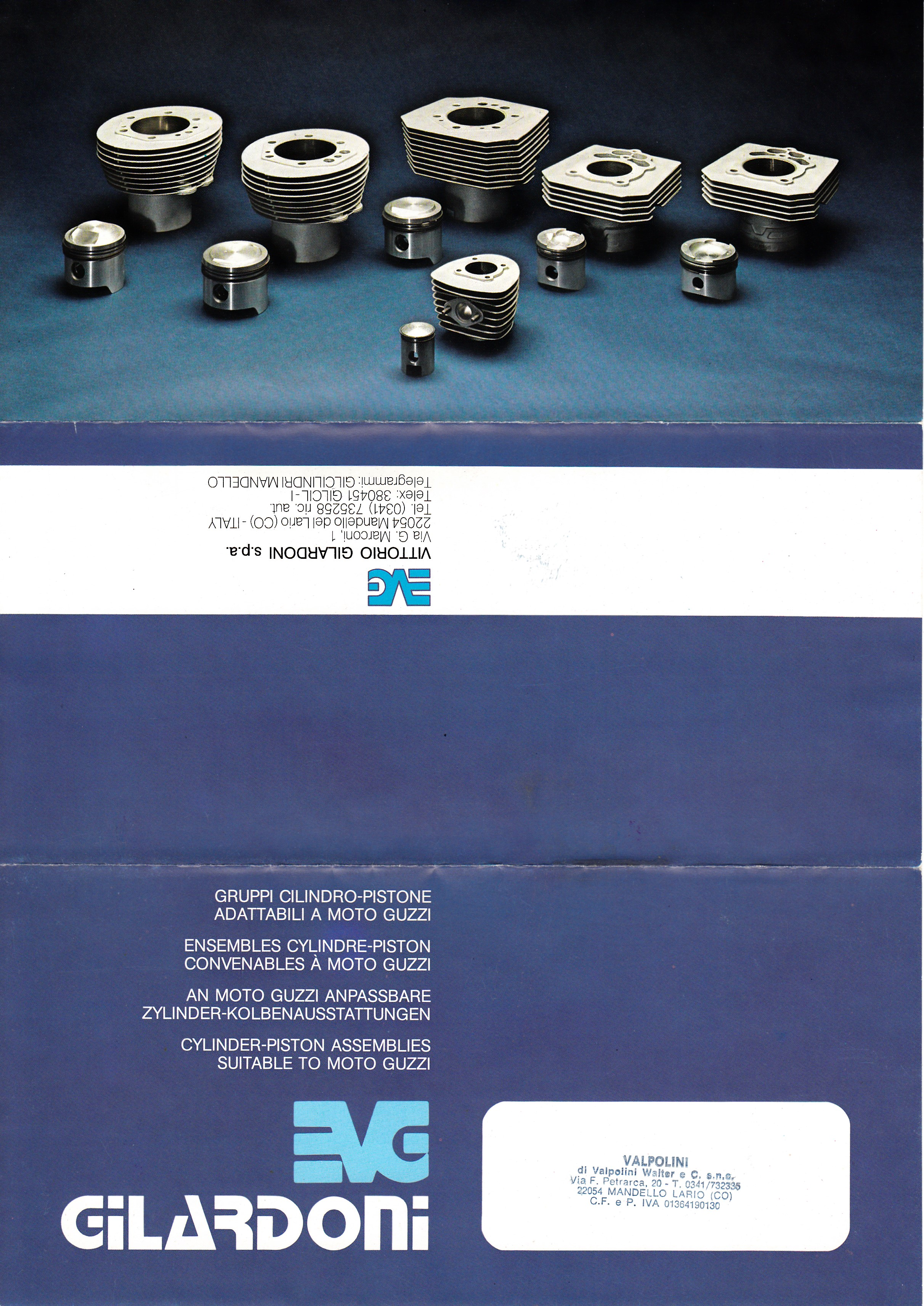 Brochure - Vittorio Gilardoni: Cylinder-piston assemblies suitable to Moto Guzzi