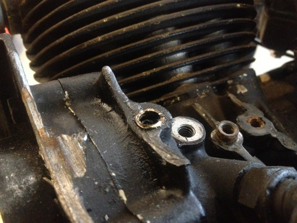 Crankcase damage due to a loose generator bracket, as found on Moto Guzzi V700, V7 Special, Ambassador, 850 GT, 850 GT California, Eldorado, and 850 California Police motorcycles.