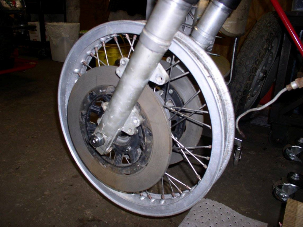 Front wheel assembled with spacers.