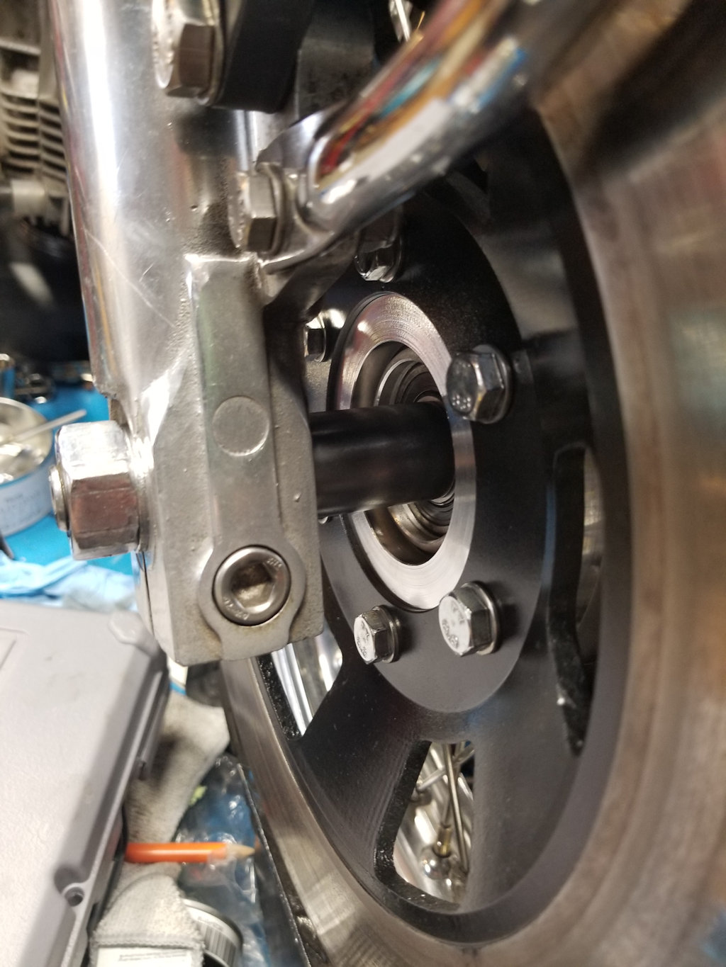 Disc brake spacer to add dual disc front brakes to Moto Guzzi V700, V7 Special, Ambassador, 850 GT, 850 GT California, Eldorado, and 850 California Police models.