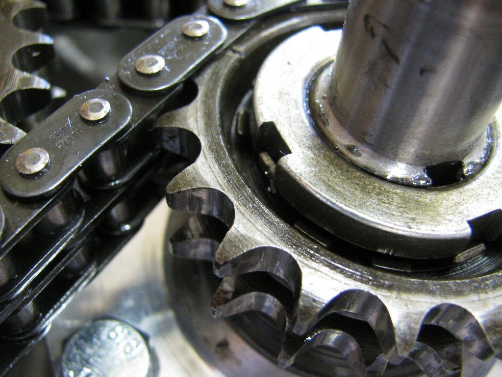 The locking tang on the crankshaft sprocket is bent into place.