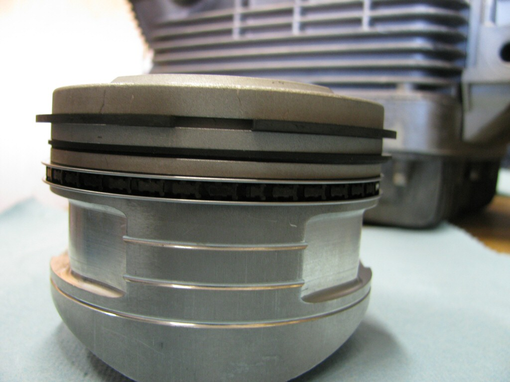 Rings fit to the right piston. This series of photos is intended to show the careful ring gap placement, as per the instructions provided by the piston ring manufacturer (TotalSeal).