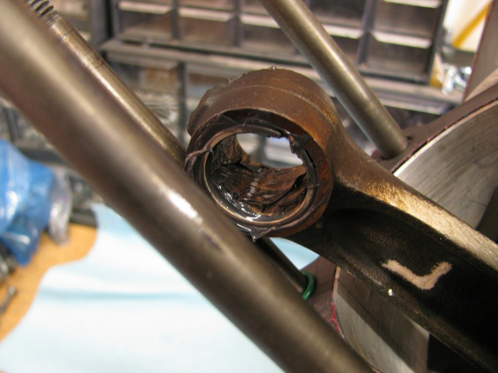 Assembly lube applied to the small end of the connecting rod.