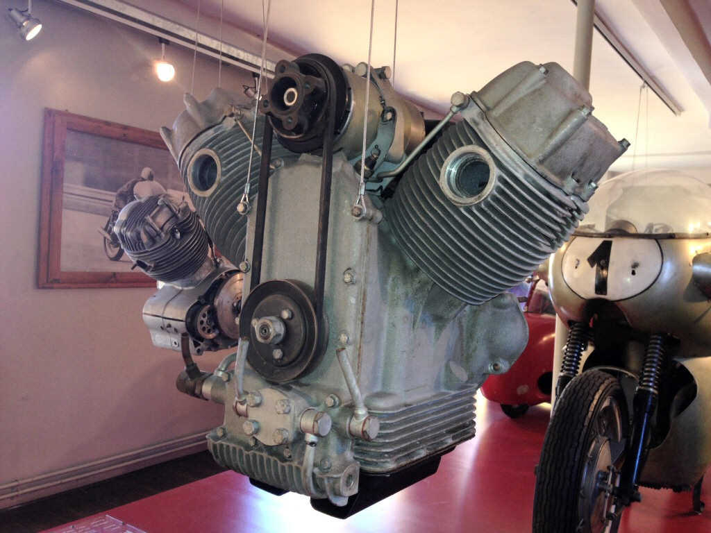 Very early Moto Guzzi big twin engine with an external oil filter. Engine displayed in the Moto Guzzi museum.