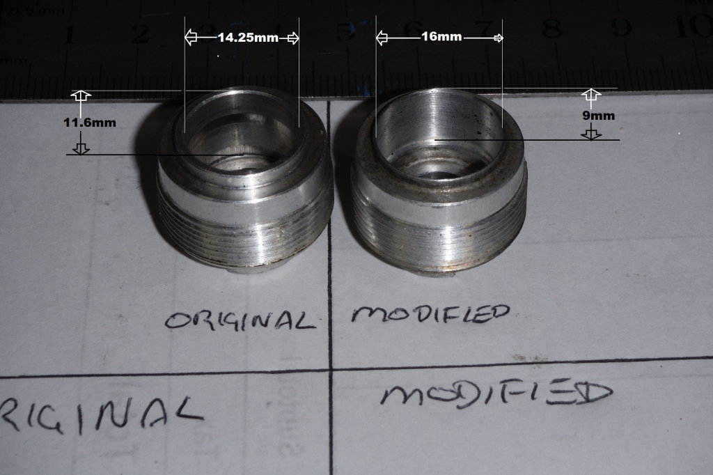Original and modified caps. Modifying FAC dampers to accept Öhlins seals on Moto Guzzi motorcycles.