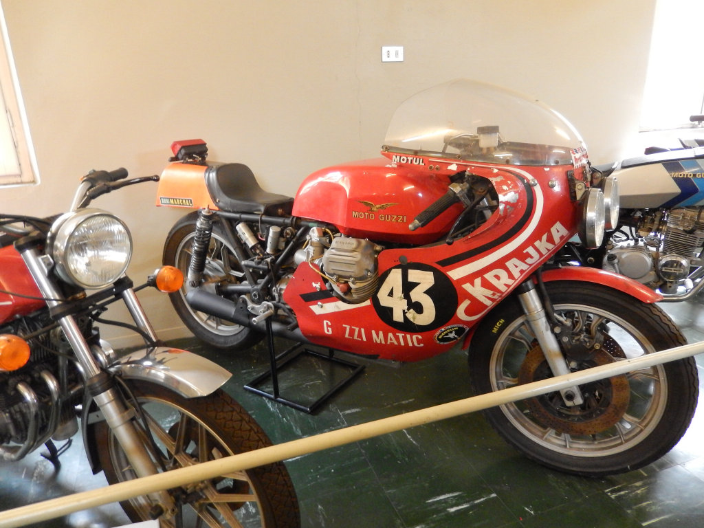 Charles Krajka's Guzzi Matic race bike. Photo taken at the Moto Guzzi factory museum.