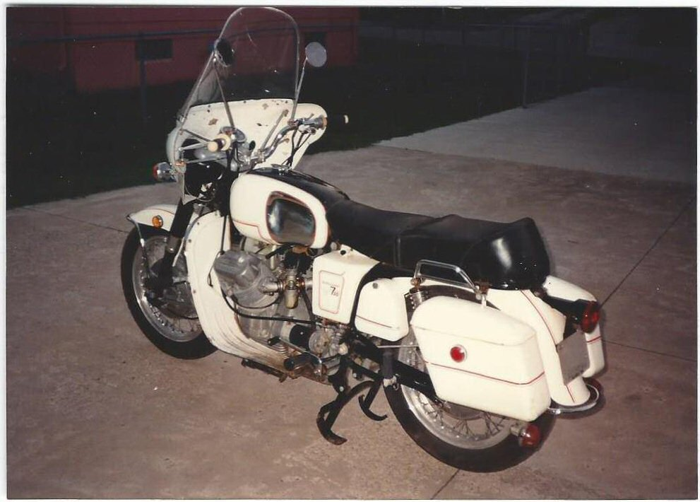 Moto Guzzi polizia fairing mounted to an A-series Ambassador.