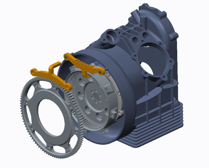 CAD model for making a flywheel / ring gear holding tool for Moto Guzzi motorcycles.
