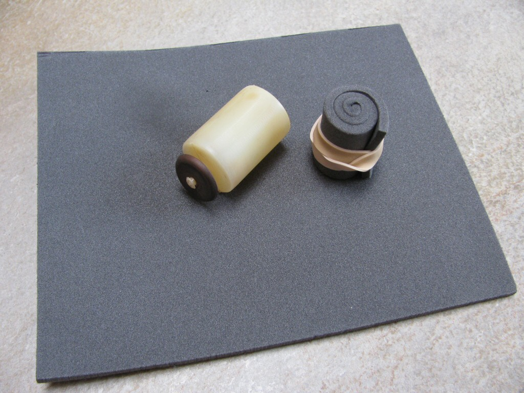 The fuel level sensor float (MG# 18103050) and foam (McMaster-Carr part number 3623K61).