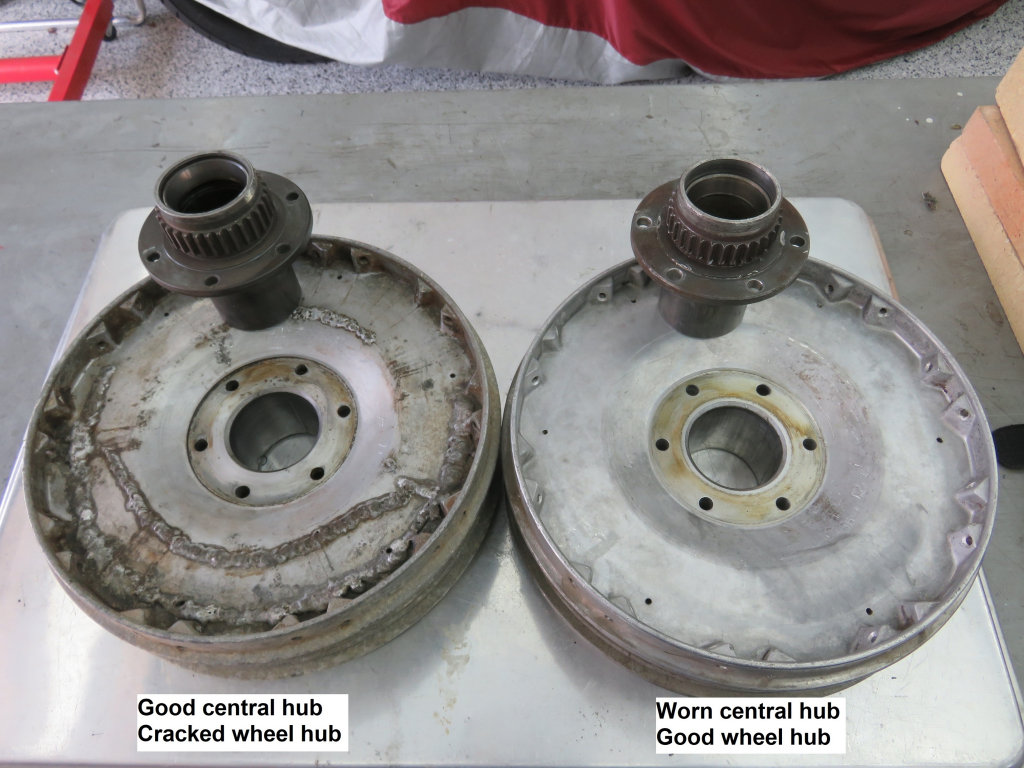 Good and worn central hubs pressed out.