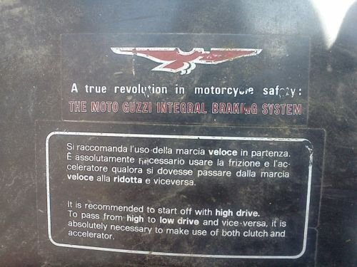 Decal as affixed to the top of a Moto Guzzi I-Convert fuel tank. Thanks to Gordon Kline of MG Cycle for sending me the link to this photo.