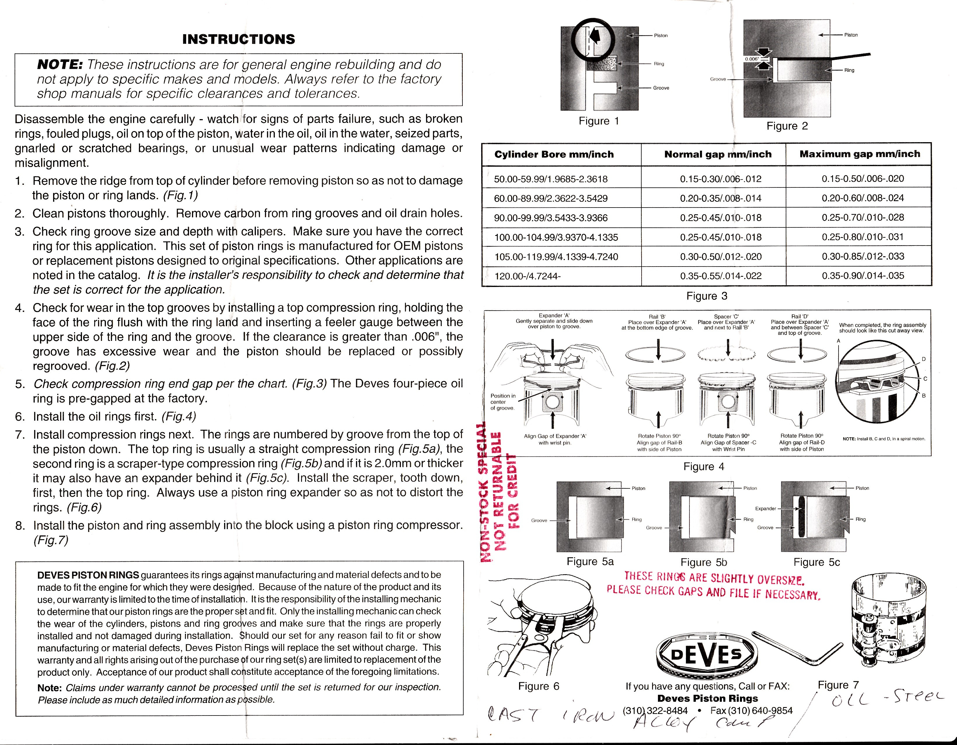 Installation instructions - Deves piston rings