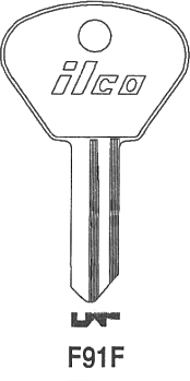 Ilco F91F key blank. Note: The key pattern shown is the keyhole that the key goes into, not the view from the tip of the key.