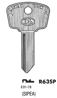 Ilco R63SP key blank. Note: The key pattern shown is the keyhole that the key goes into, not the view from the tip of the key.