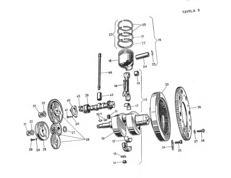 Crankshaft and camshaft related components.
