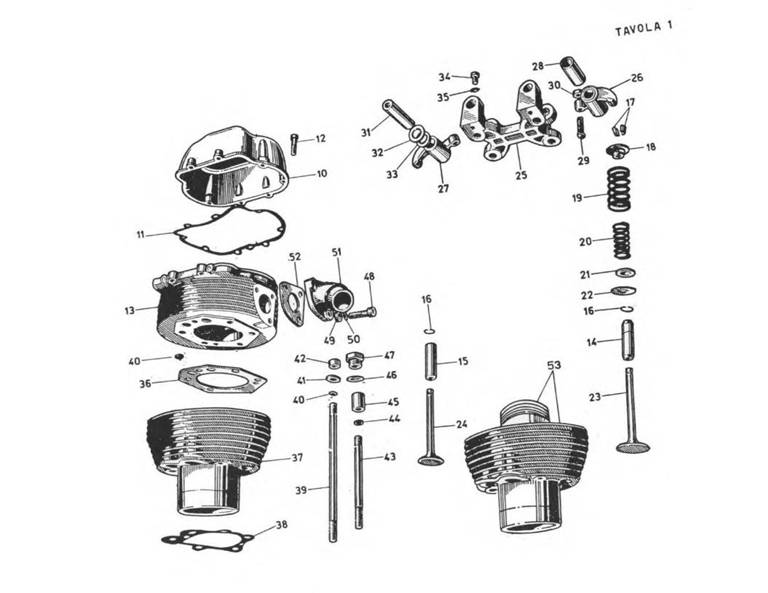 Cylinder and cylinder head components.