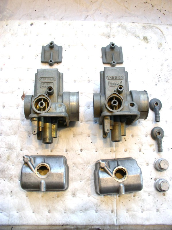 Moto Guzzi carburetors cleaned with Pine-Sol.