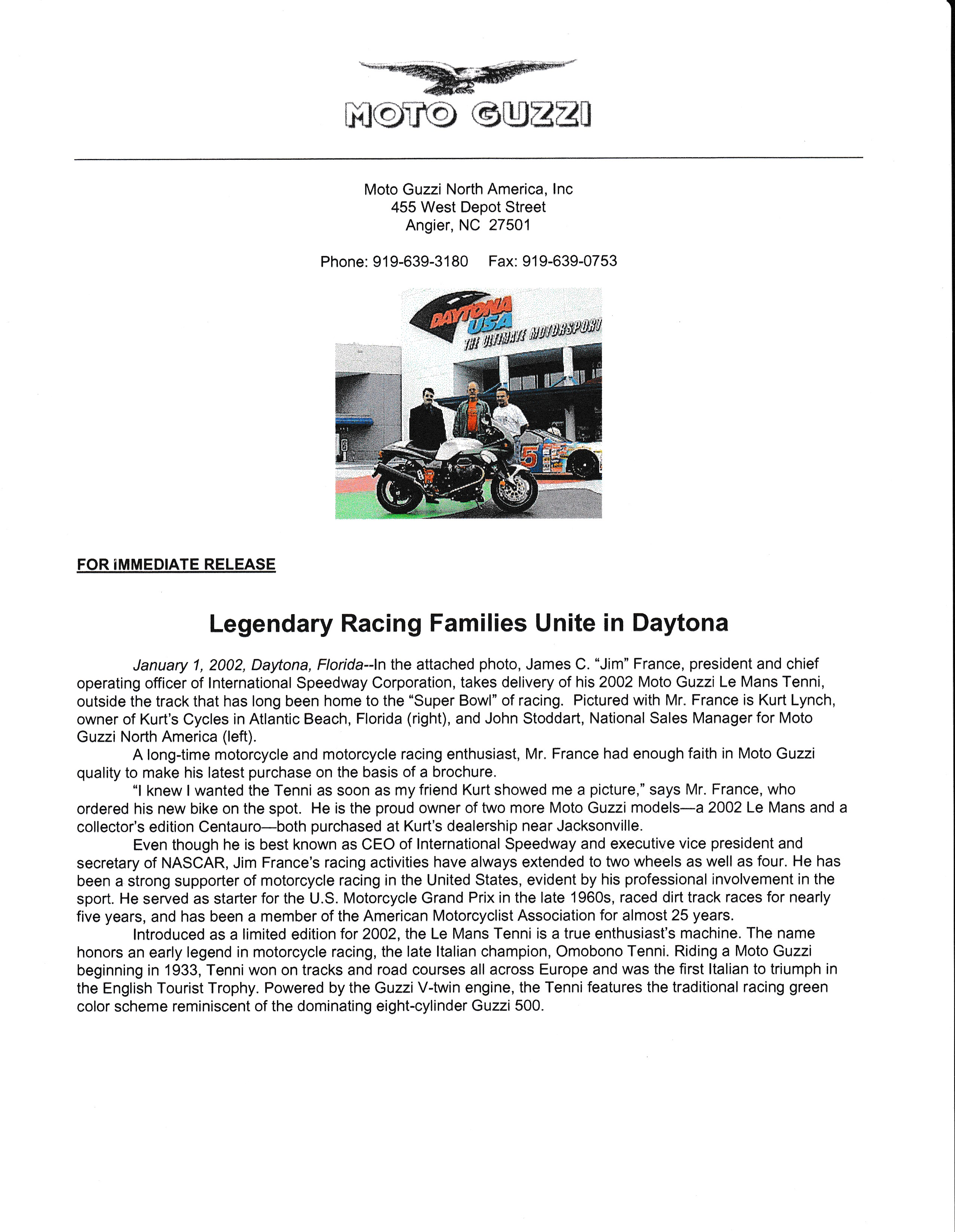 Press release - Legendary racing families unite in Daytona (2002 January 01)