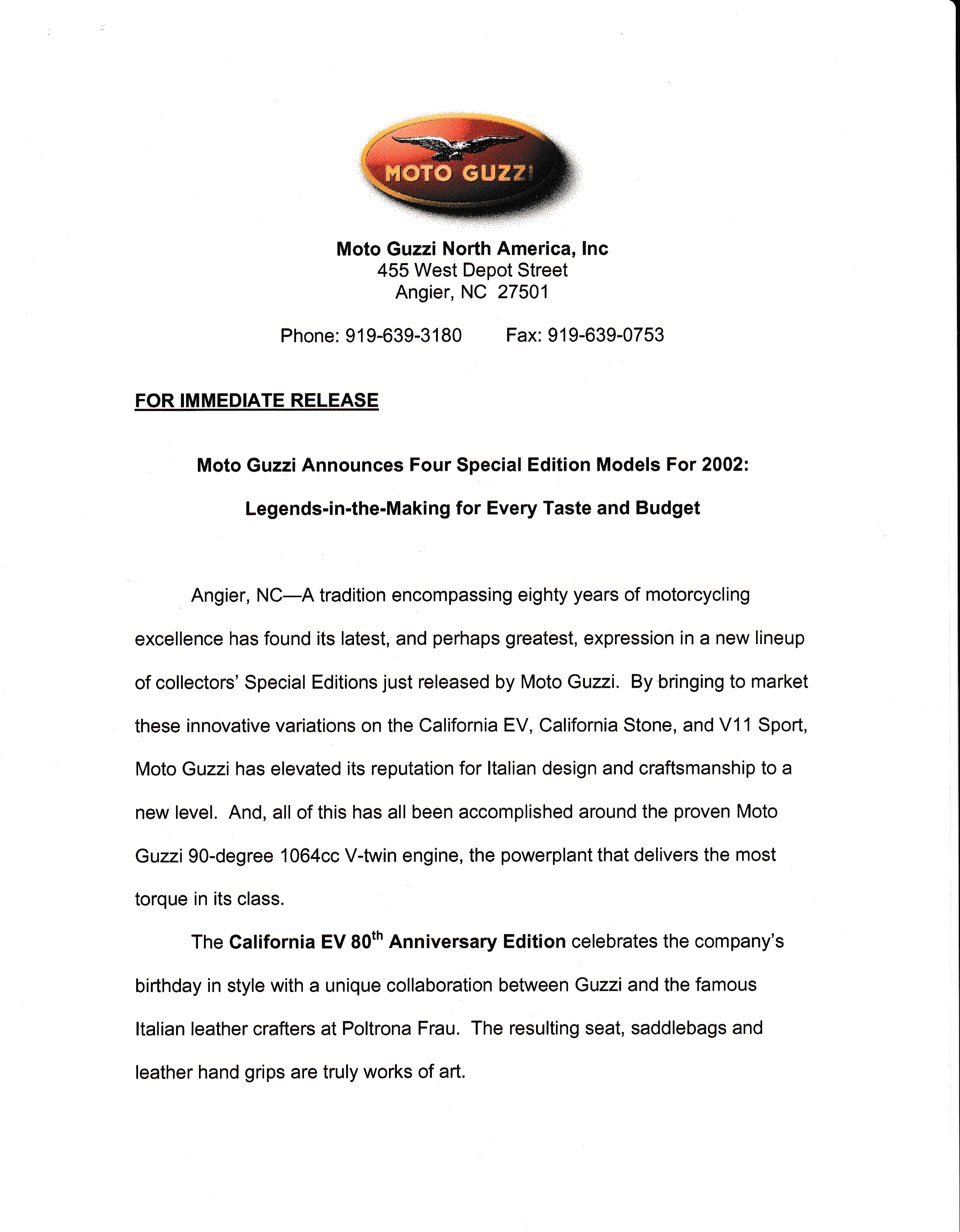 Press release - Four special edition models for 2002