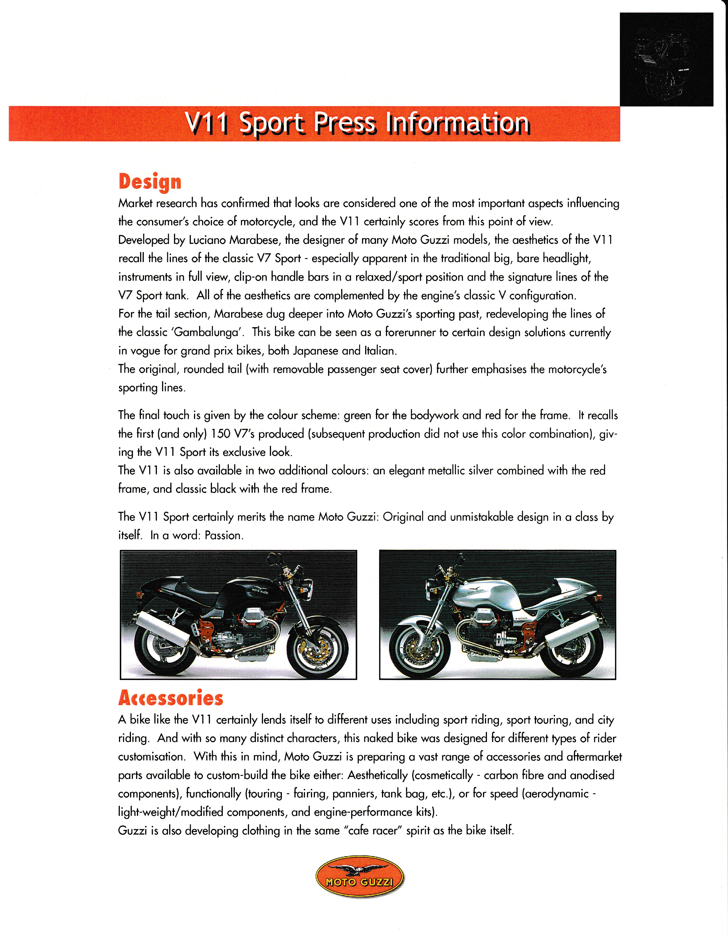 Press release - Moto Guzzi V11 Sport press kit and test bike scheduling (2000 June 07)