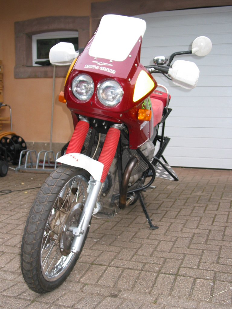 Protecting the brake lines on a Moto Guzzi Quota 1000.
