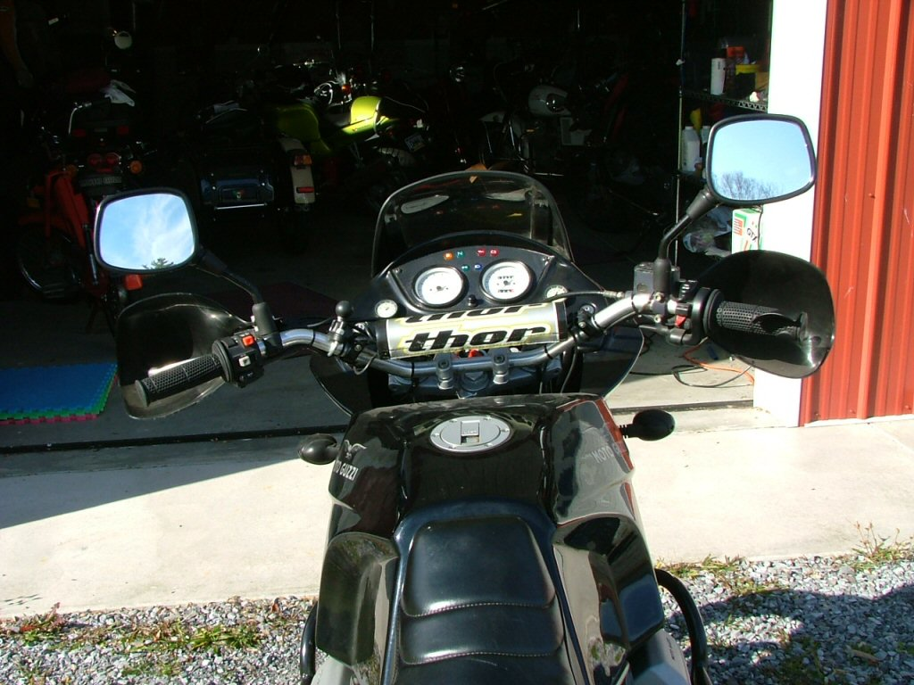 Wide angle from rear. Mounting Triumph Tiger hand guards on a Moto Guzzi Quota 1100 ES.
