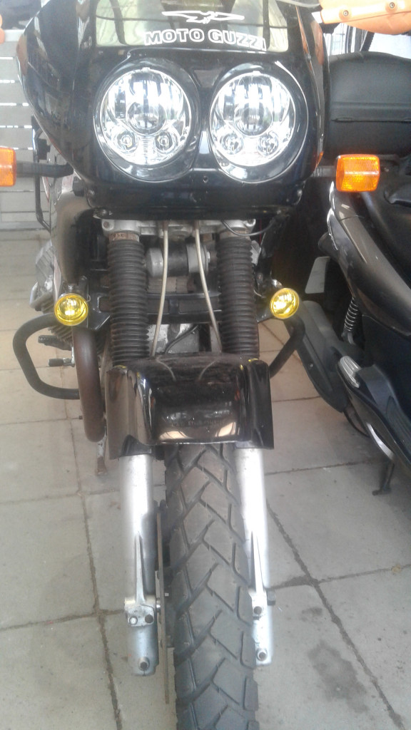 Custom bracket to fit LED lights on a Moto Guzzi Quota 1000 (or Quota 1100 fit with a Quota 1000 fairing)