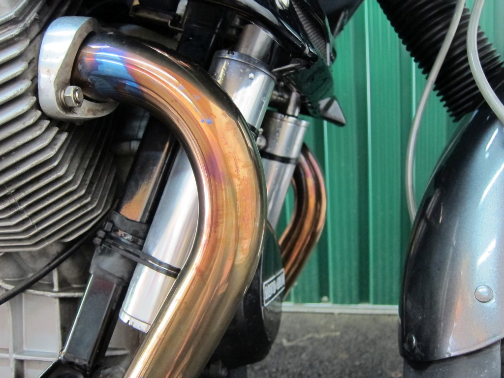 Oil separators used to eliminate rust in oil on a Moto Guzzi Quota 11000 ES.
