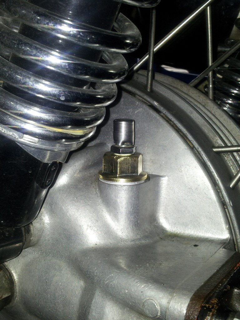 Toyota differential breather fit to a Moto Guzzi rear drive.