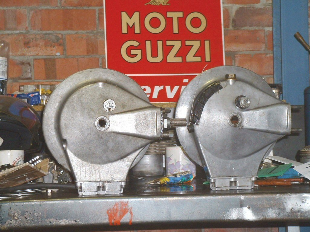 Comparison of Moto Guzzi rear drive level plug location. The higher position is correct.