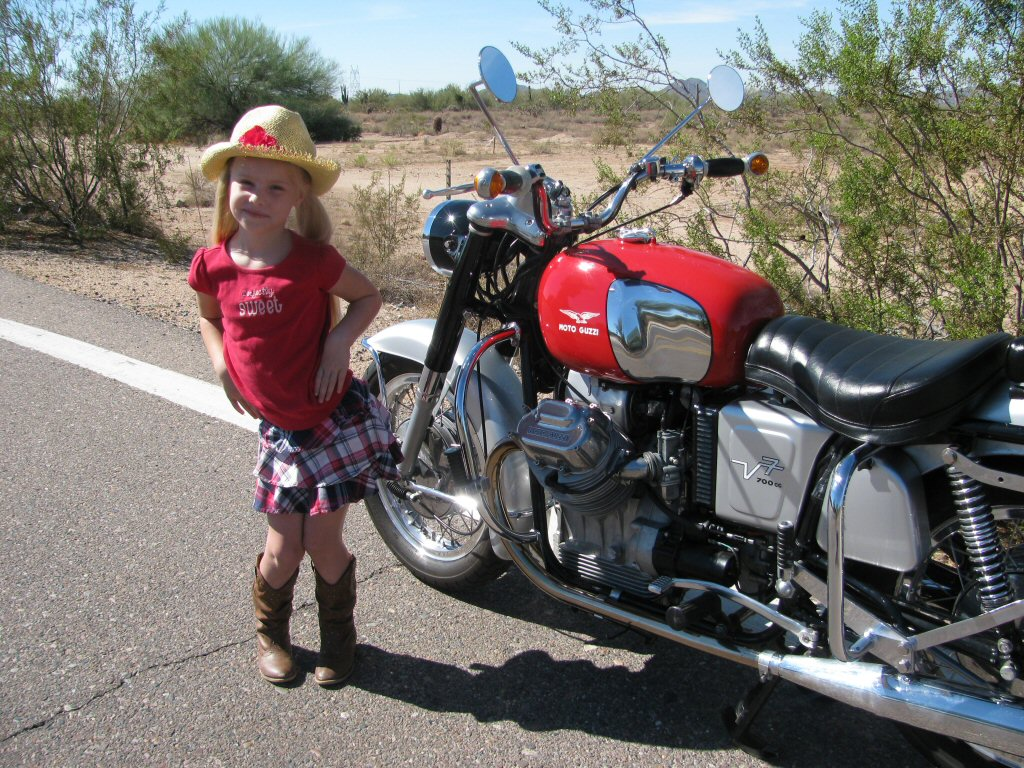 Robert Scharf's Moto Guzzi V700 with Darby Anne Bender.