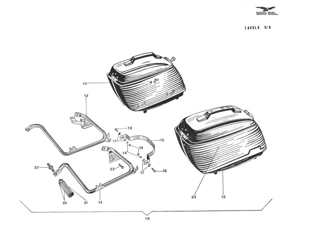 Original Moto Guzzi saddlebags as shown in the Ambassador and Eldorado Spare Parts Catalogs