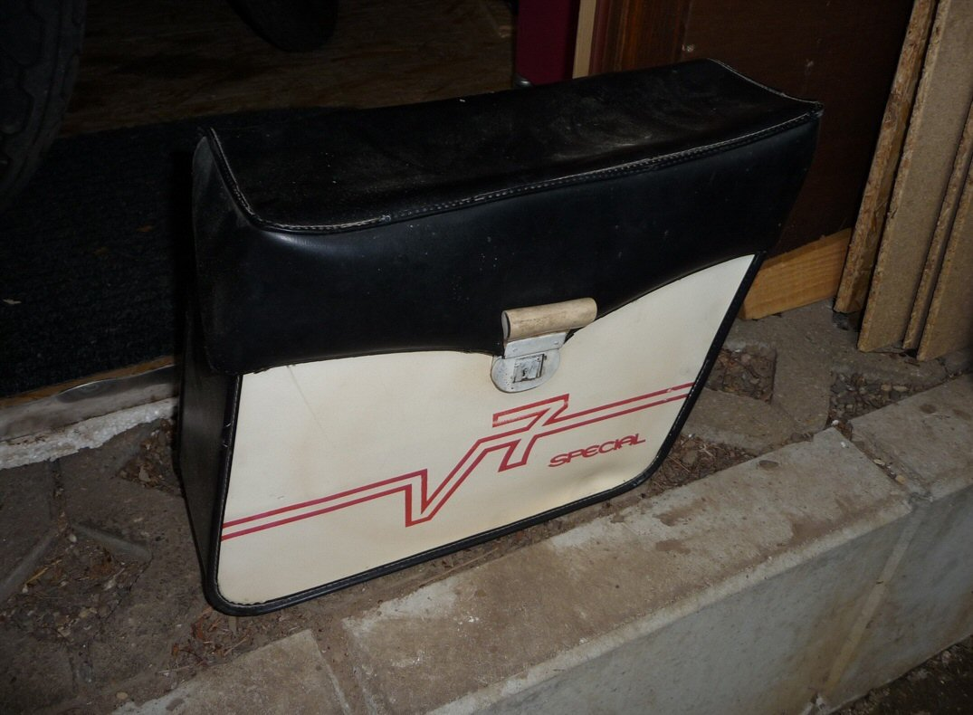 Original Moto Guzzi soft saddlebags.