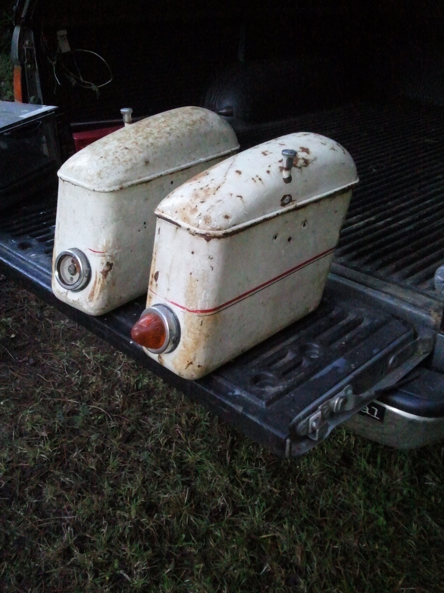 Chris Hayter found these Moto Guzzi metal saddlebags in a storage locker.