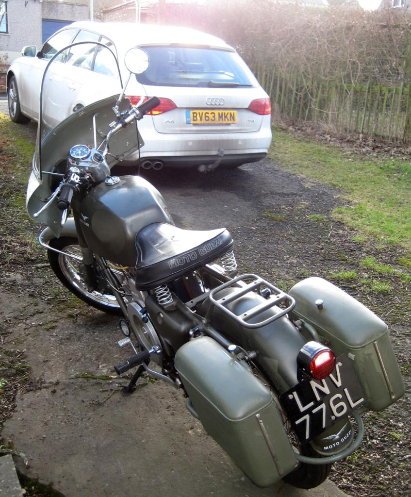 Jake Beatson's Moto Guzzi Nuovo Falcone with metal saddlebags.