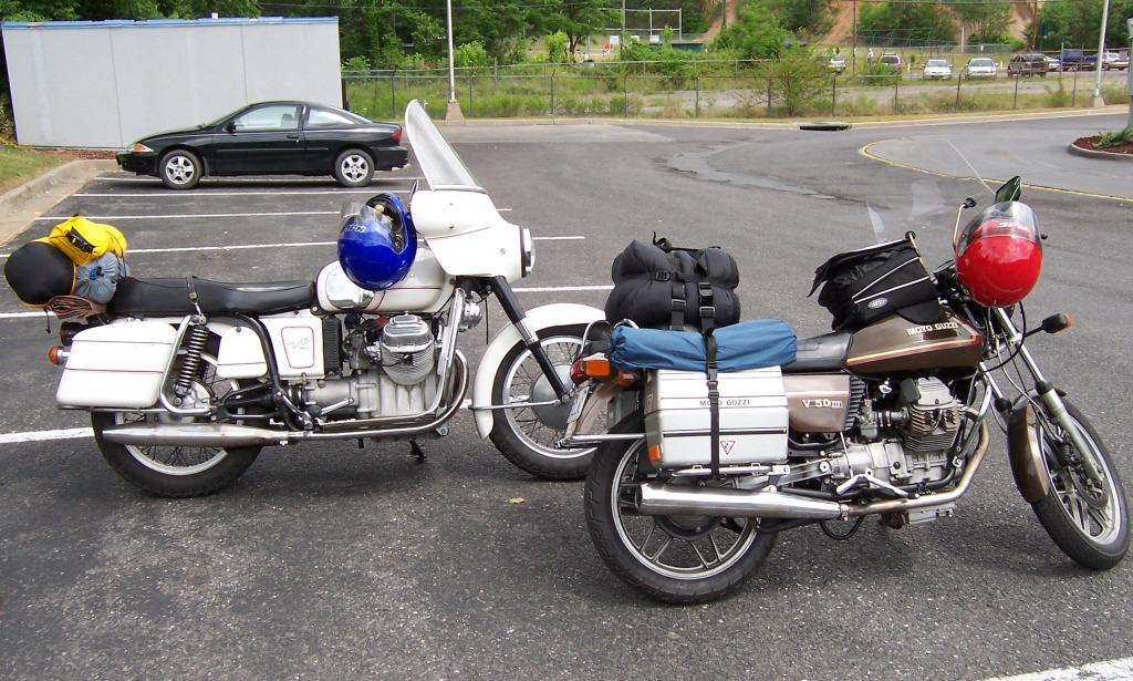Rob Prins' Moto Guzzi V700 with metal saddlebags.