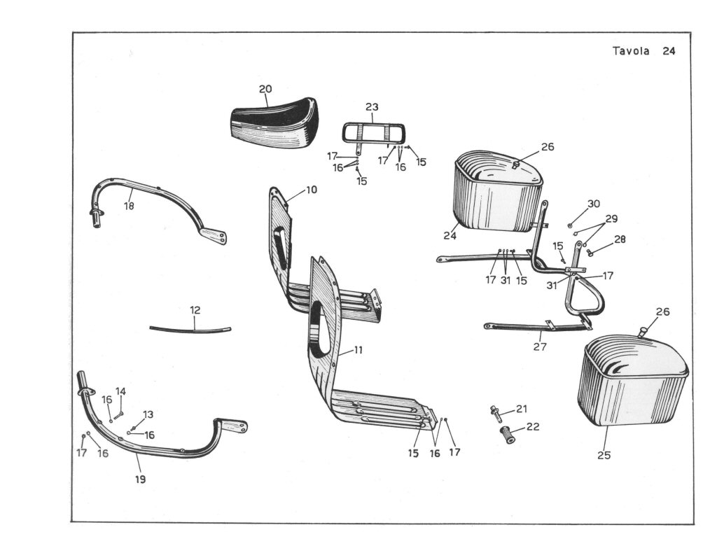 Original Moto Guzzi saddlebags as shown in the V700 Spare Parts Catalog