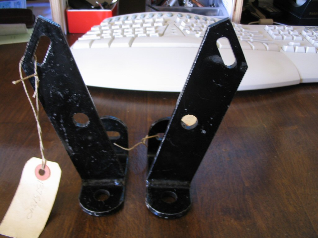 Spot light brackets as used on the Moto Guzzi 850 California Police motorcycle (MG# 13751340 and MG# 13751440).