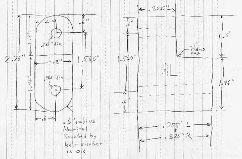 Motor Mount Plans: Hanger bracket to allow motor with tonti timing cover to be mounted into loop frame without welding.