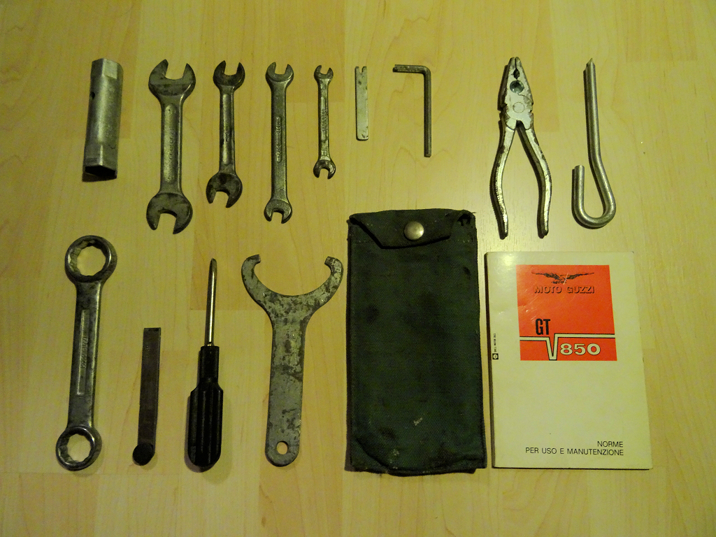 Original tool kit for a Moto Guzzi 850 GT.
