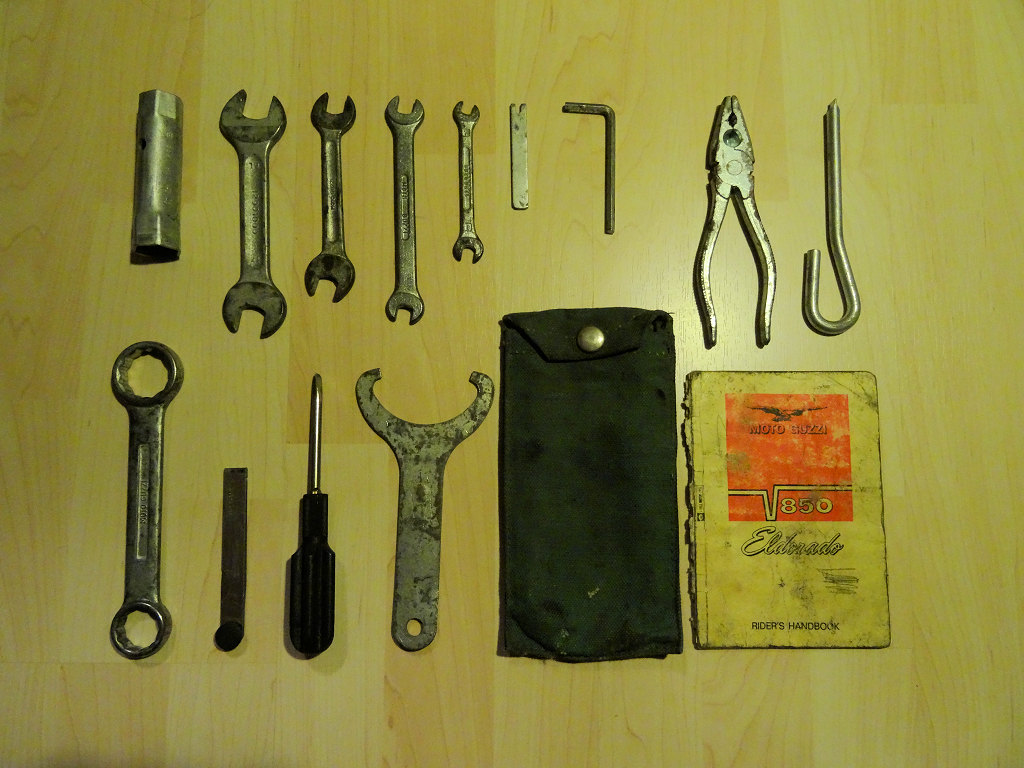 Original tool kit for a Moto Guzzi Eldorado.