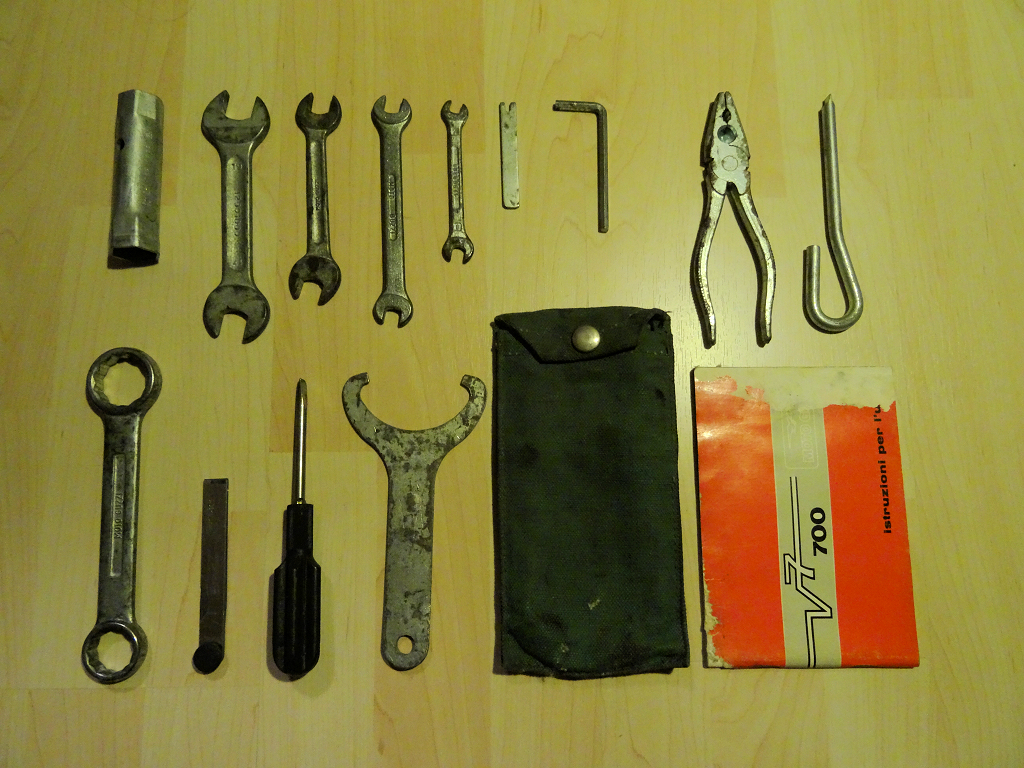 Original tool kit for a Moto Guzzi V700.