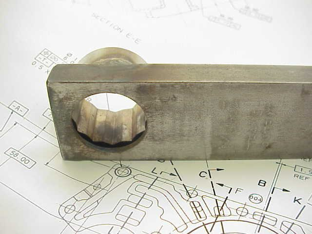 Moto Guzzi special tool for the nut securing the layshaft / output shaft on 5 speed transmissions.