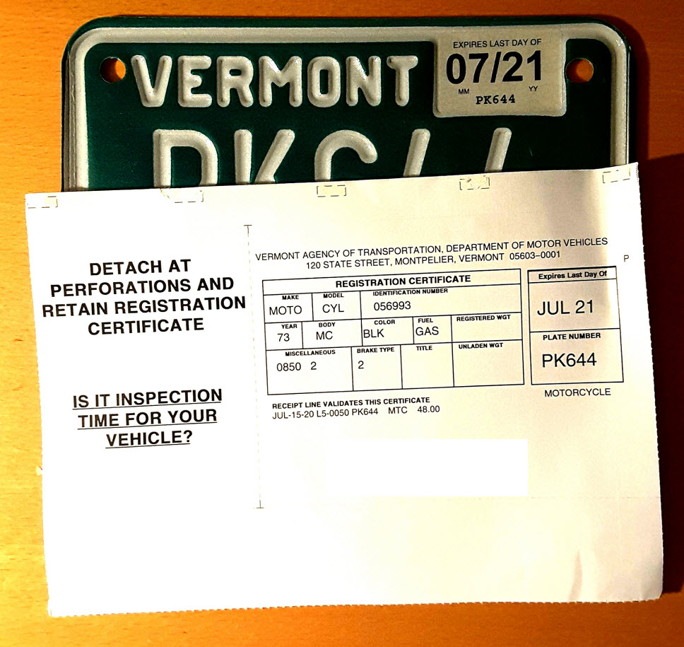 Vermont license plate and registration.